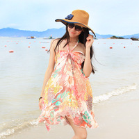 Summer bohemia fancy tube top halter-neck one-piece dress beach dress short skirt high waist skirt