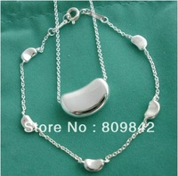 Free shippng !!wholesale 925 Sterling silver bean necklace & bracelet Set