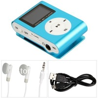 Blue Mini Clip MP3 Player Support 32GB Micro SD Card