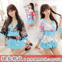 Japanese style kimono underwear female lingerie sleepwear nightgown pants the temptation to set 3