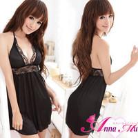 Black racerback sleepwear nightgown suspender skirt set female lingerie phanero- figure twinset