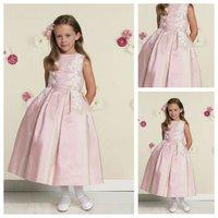 Custom Made Top Quality Rectangle Thin Puffy Natural Waist Pear Short Sleeve Tea Length Pleated Bodice Satin Flower Girl Dress