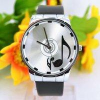 M699 FREE SHIP Elegant Stylish Musical Note Watch Fashion PU Leather Quartz Women Ladies Wrist Watch Waterproof, Promotion