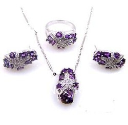 Derongems_Natural Amethyst inlayed Jewelry Set_ 925 Sterling Sliver plated Real White Gold_Manufacturer Directly Sales(China (Mainland))