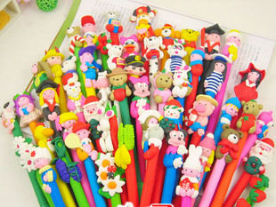 Korea Stationery Soft pottery ballpoint pen cartoon pens Prize for students Office & school Free shipping(China (Mainland))