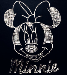 Free Shipping 17x21cm 20pcs/lot MINNIE Rhinestones Heat Transfer Design Iron On Motifs patches Free Custom Design(China (Mainland))