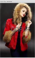 Женский жилет Genuine Rabbit Fur with Collar Vest Long Hooded Waistcoat /Gilet Coats/ QDMJ004 A G G