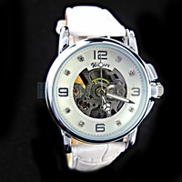 White Partially Transparent Hollow Dial White PU Leather Band Automatic Mechanical Watch 7070