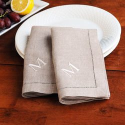Monogrammed Natural Linen Hemstitch Napkins, CUSTOM MADE(China (Mainland))