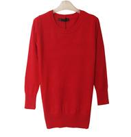 Autumn mercerized cotton o-neck medium-long sleeve length sweater basic shirt female
