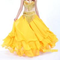 Belly dance skirt clothes performance wear set quality set dress chiffon roll-up hem skirt