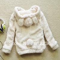 2012 autumn and winter women outerwear bear rabbit ear sweatshirt berber fleece outerwear female