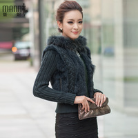 Fur rex rabbit hair sweater cardigan ladies sweater outerwear rabbit fur coat