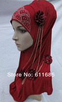S265a fashion muslim hijab with flowers and chain