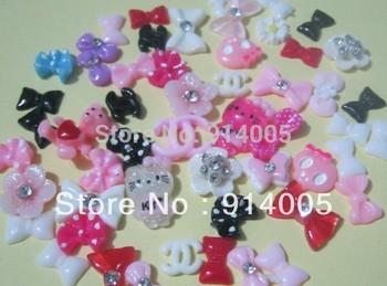 100pcs MIXED Nail Art Resin 3D bows, flowers,KT, bling bling nail,cute nail, Tips Stickers Decorations beauty