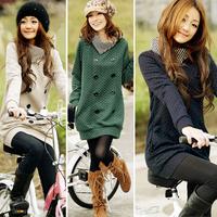 New 2014 Winter  Womens Causal Long Sleeve Lapel Turtleneck Sweater Green/Grey/Beige