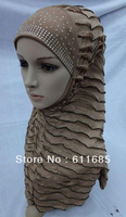 S266 new style one piece hijab with rhinestones
