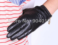 New Thin Fashion  Genuine Leather Women Driving Gloves Wrist Gloves Short Zipper S M L