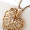 12pcs/lot Free shipping wholesale Fashion Heart Necklace Pendant Zircon Leaf Pendant Necklace Carve Jewelry