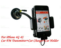 All In One Car FM Transmitter Car Holder Charger For iPhone 4G 4S,CN/HK Post Free Shipping,MOQ:1pcs,A0195