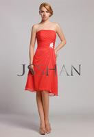 12B024 Strapless Ruching Knee Length Chiffon Bridal Party Elegant Gorgeous Luxury Unique Bridesmaid Dress