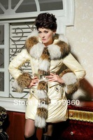Free Shipping Super Luxury Large Real Fur Collar Outware Warm Winter Coat Clothes YD1888  Women's Long Down Jacket