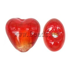 FREE SHIPPING 100PCs/lot Silver Foil Handmade Lampwork Beads, Heart, Red , 13x9mm, Hole:Approx 1mm(China (Mainland))