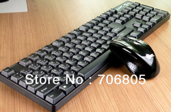 Black Wireless 2.4GHz Keyboard Combos,Keyboard Mouse Set for Computer Laptop free shipping(China (Mainland))