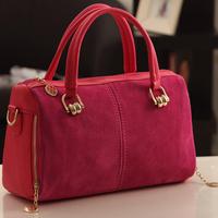 2012 autumn and winter women's handbag / Buddhistan  nubuck leather fashion vintage color block handbag/ Suede women bags