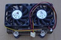Gt 775 fan cpu heatsink copper double heatpipe ball double fan htpc