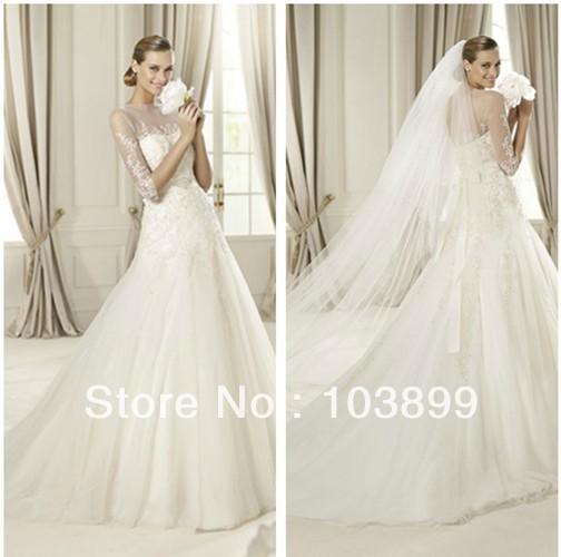 Wedding Dresses Long Sleeves High Colar 58