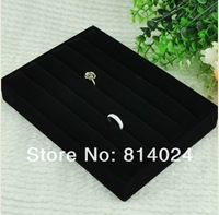 Black Velvet Ring Jewelry Display Tray Holder Case Gift free shipping