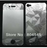 Free shipping cheap 3X New 3D Diamond Front & Back Screen Protector for iPhone 4 4G 4S Guard Film P05