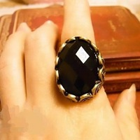 Fahion Korea vintage exaggerate black gem rings jewelry ! !Free shipping! cRYSTAL sHOP