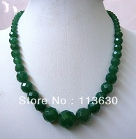 "6-14mm  Round Faceted Emerald Beads Necklace 18"" 18KGP clasp"