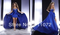 Most Popular Sweetheart Front Short Long Back Satin Beaded Bowknot Long Royal Blue Detachable Prom Dress With Long Train
