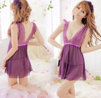 Free Shipping Brand Purple Sexy Women Lace Deep V Dress Sleeping Wear Nightgown G string Thong Apparel Kimono Robe 0617