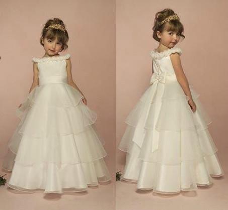 Wholesale New Noble White Sky Blue Flower Girl Dress Low High Kids ...