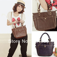Free shipping GK Vintage Korean Women Faux Leather Handbag Tote Shoulder Messenger Bag  BG201