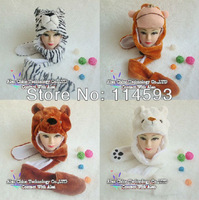 3 in 1 Cartoon Animal Cute Fluffy Plush Hat Cap  300pcs/lot