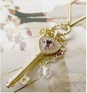 Hot &Amethyst love golden crown key necklace+ Free Shipping#C05
