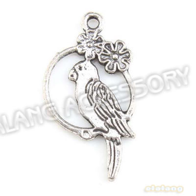 New Style 90pcs/lot Alloy Standing Bird Circle Charms Antique Silver Plated Pendants Fit Handcraft DIY 28x15x2mm 143496(China (Mainland))