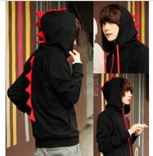 Novelty  Black And Red Cardigan Teenager Hoody/ Boys' Outwear With Dinosaur Hoodie/ Men Hoodies/ Unique Lad's Jumper