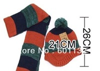 5 sets/lot + Free shipping+ Baby hat and scarf sets+ Stripe Knitting + Winter Wool 4 Colors