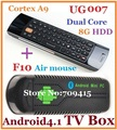 [Free F10 Air Mouse] In-Stock UG007 Dual Core Mini PC Android 4.1.1 TV Box RK3066 1GB/8GB Bluetooth UG802 Updated MK802 IV HDMI