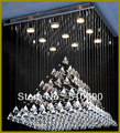 EXPORT QUALITY FREE SHIPPING + LED BULB 110-240V PYRAMID DESIGN K9 CRYSTAL LED CHANELIER  THICK STAINLESS STEEL + IRON BASE