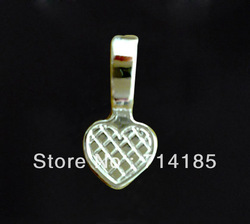 200pcs Silver Plated Glue on Bail Cabochon Settings Heart Charm Pendant 21x10mm(China (Mainland))