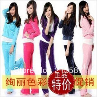 2012 autumn sweatshirt velvet casual women's velvet sportswear sports set(China (Mainland))