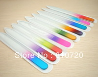 Free shipping 10pcs/lot mix colors Glass Nail Files Durable Crystal File Case 5-1/2""