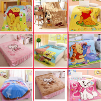 Drop Shipping Cartoon Coral Fleece Bed Blanket Baby Sleeping Quilt Bedspread Bedclothes Plaid Blanket For Children Free Shipping